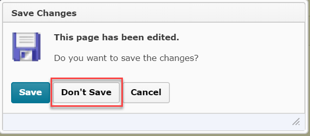 Screenshot showing the popup that appears after publishing feedback on an assignment submission. The Don't Save option is highlighted.