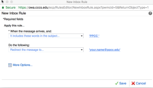 Finished form with PPCC in the subject line and the ppcc.edu email address loaded.