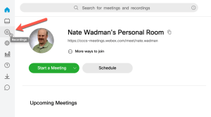 CCCS WebEx page with Recording tab in the upper left