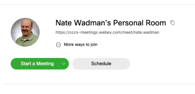 Nate's Personal Room link and Start Meeting button