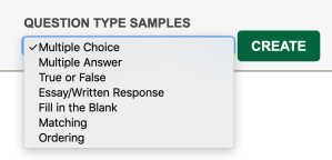 The Question Type Samples Dropdown