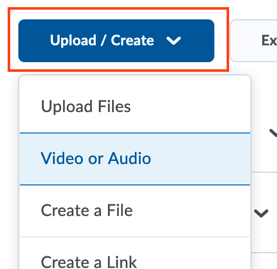 Upload/Create menu in D2L with the Video or Audio option selected