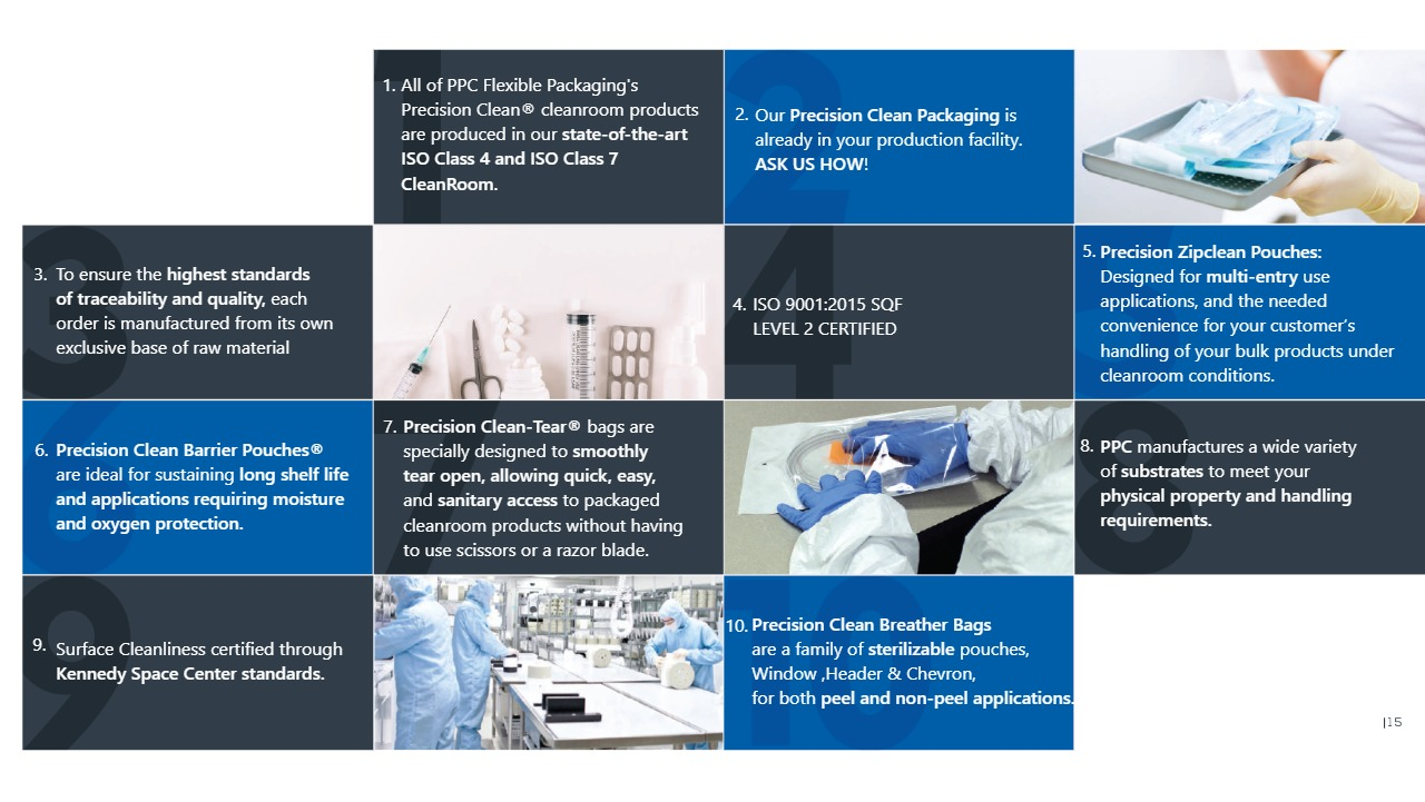PPC Precision Clean Cleanroom products are produced in our state of the art iso class 3 and iso class 7 cleanroom