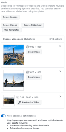 Facebook interface showing dynamic creative set up with images added