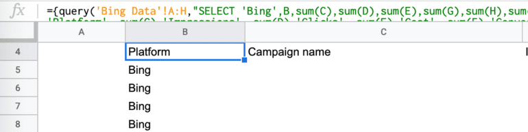 google sheets query function label result