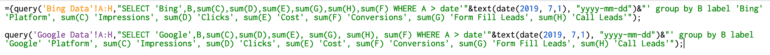 google sheets query function combing multiple queries