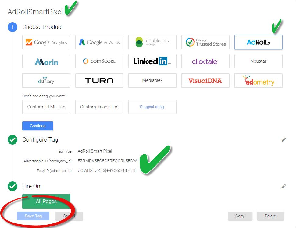 AdRoll SmartPixel Via Google Tag Manager V2