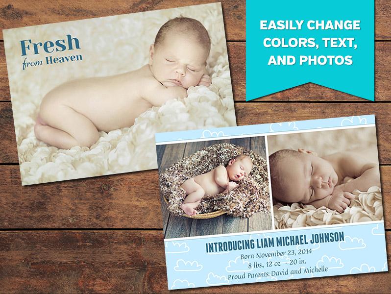 Birth Announcements, Print Templates | Cloudy Birth Announcement ...