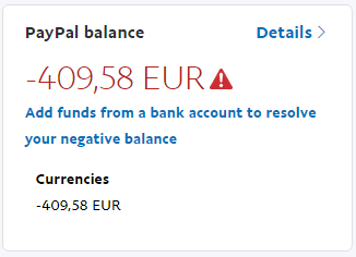 Negative Account With No Reason Paypal Community
