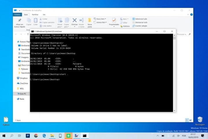 Windows 10 DOS dicas powershell explorador