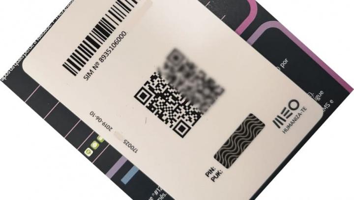 Imagem cartão com QRcode com eSIM MEO