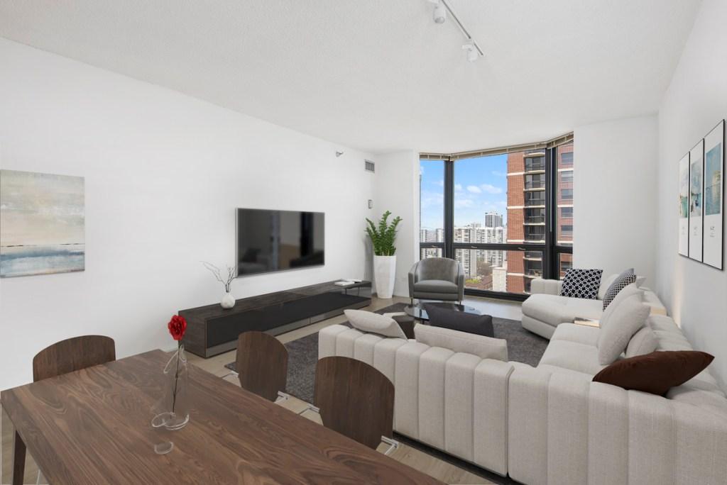 1111 N Dearborn Chicago Apartment Living Room Interior 2