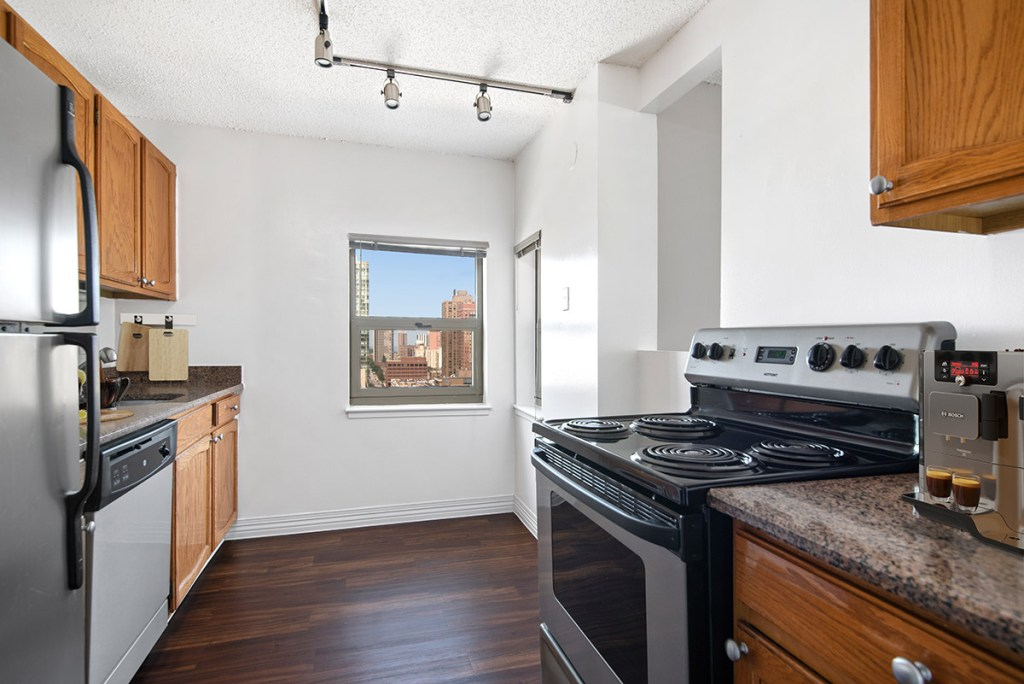 100 W Chestnut Kitchen with View Interior Chicago Apartments River North - 4