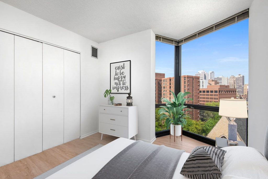 1120 N LaSalle Bedroom with View Interior Chicago Apartments Gold Coast - 1