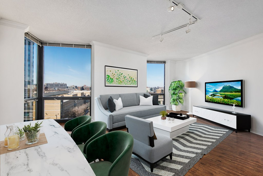 1120 N LaSalle Living Room with View Interior Chicago Apartments Gold Coast - 6