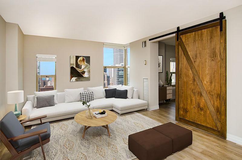 100 W Chestnut Living Room Interior Chicago Apartments River North - 4