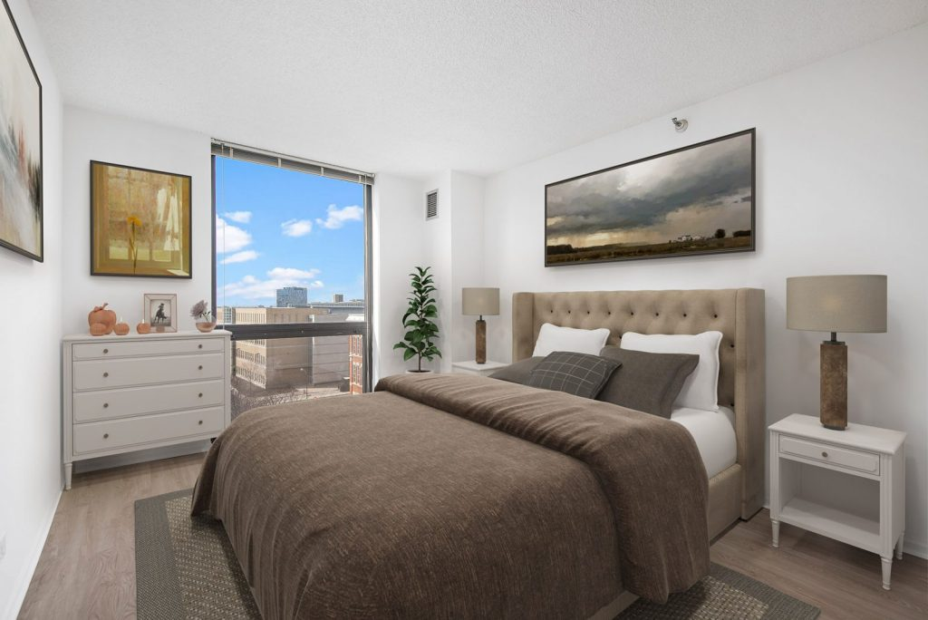 1000 N LaSalle Bedroom with View Interior Chicago Apartments Gold Coast - 5
