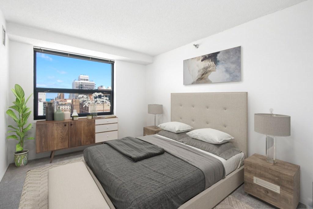 1133 N Dearborn Chicago Apartment Interior Bedroom 1