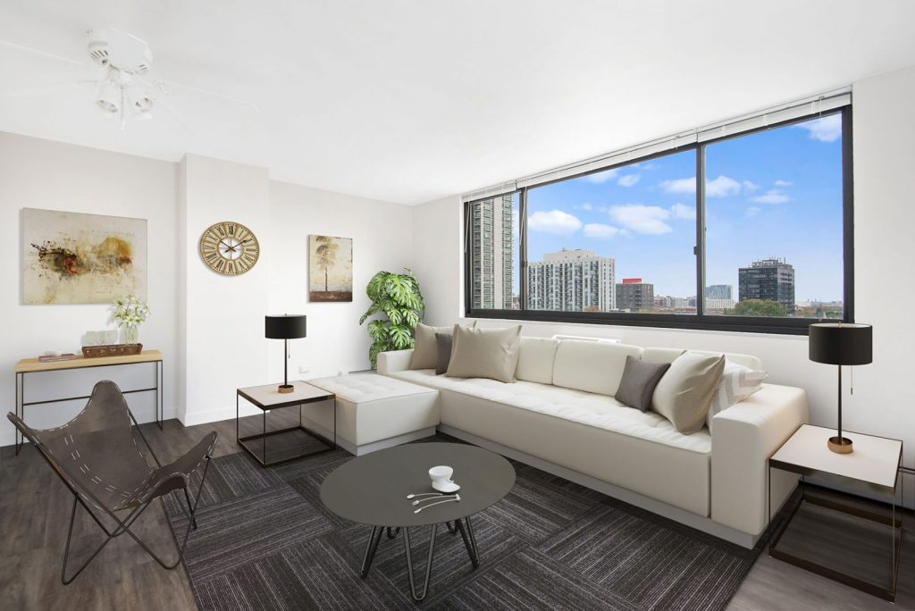1330 N Dearborn Living Room with View Interior Chicago Apartments Gold Coast - 1