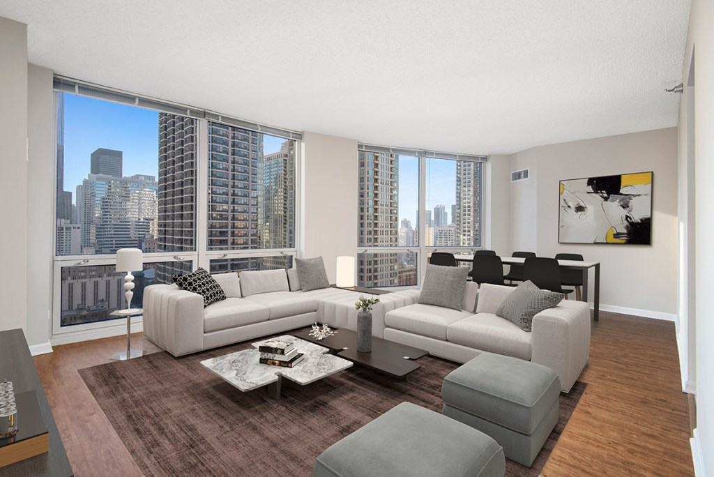 750 N Rush Living Room with View Interior Chicago Apartments River North - 1