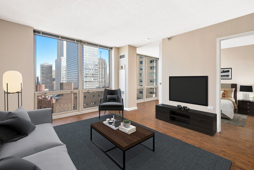 750 N Rush Living Room with View Interior Chicago Apartments River North - 2