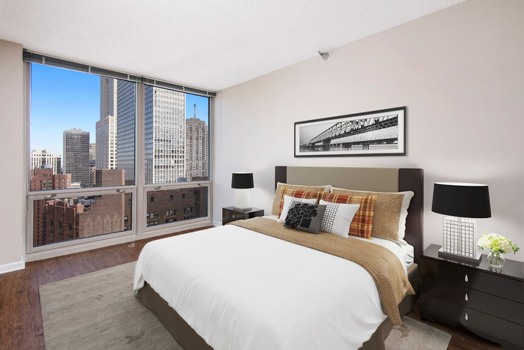750 N Rush Bedroom with View Interior Chicago Apartments River North - 3