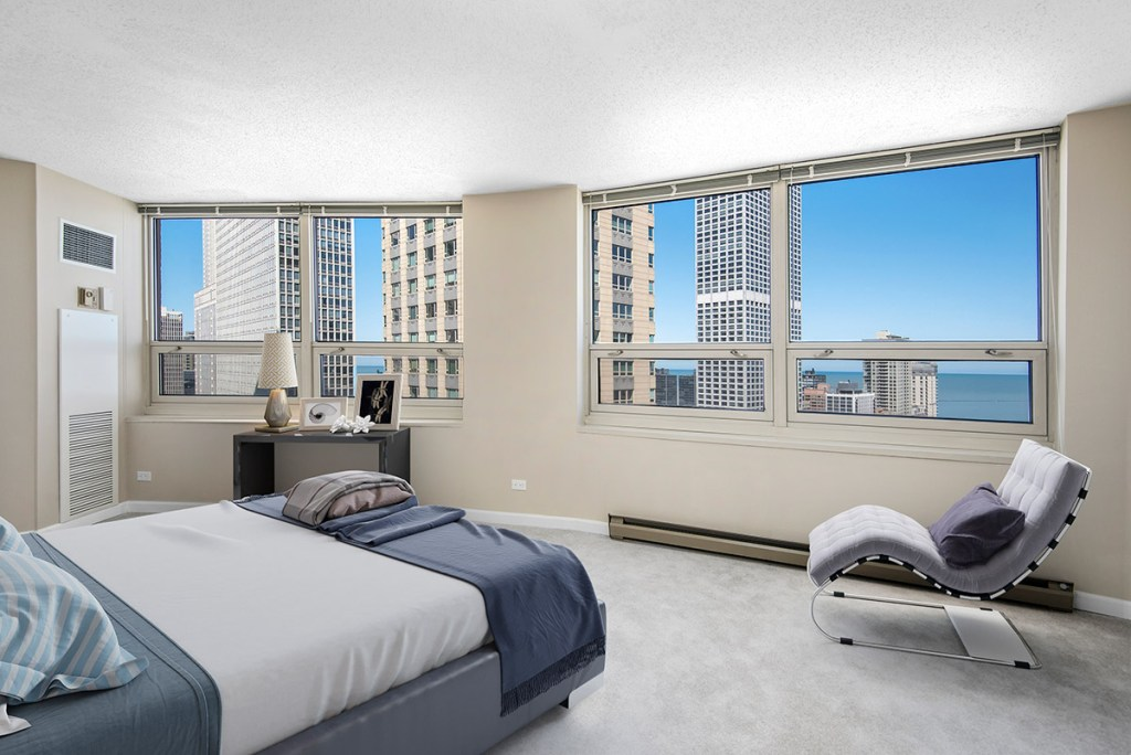 750 N Rush Bedroom with View Interior Chicago Apartments River North - 5