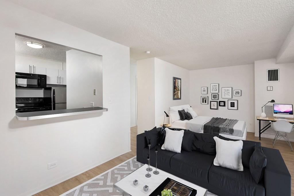 1133 N Dearborn Studio Interior Living Room Kitchen Bedroom Chicago Apartments Gold Coast - 1