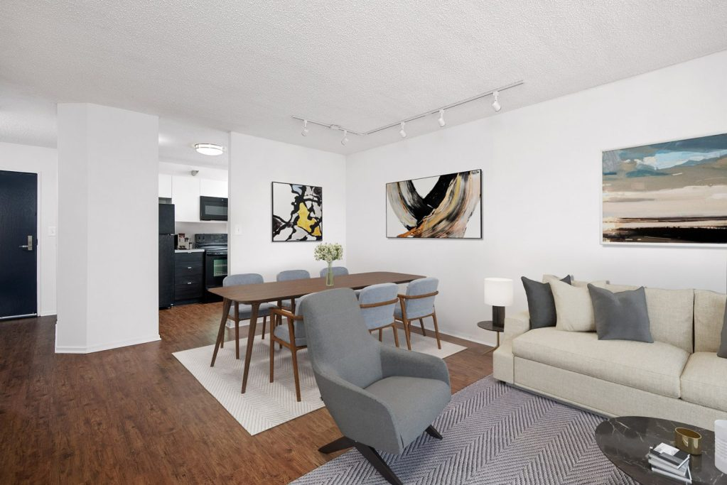 1000 N LaSalle Living Room with Space Interior Chicago Apartments Gold Coast - 1