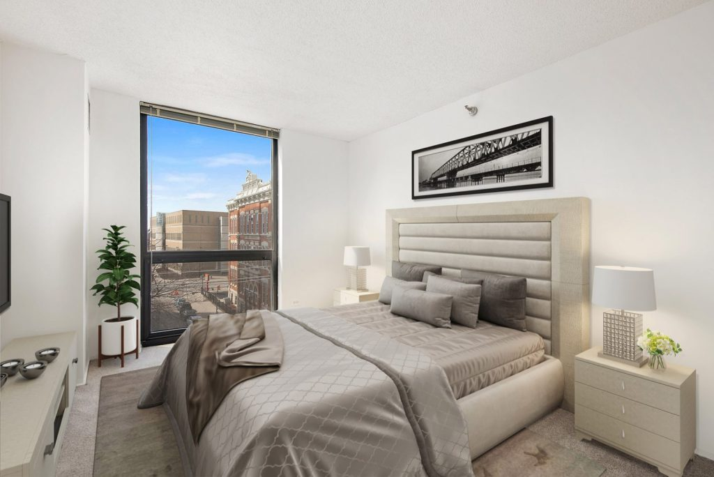 1000 N LaSalle Bedroom with View Interior Chicago Apartments Gold Coast - 1