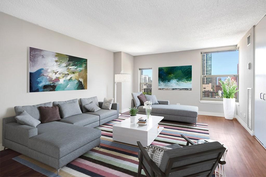 100 W Chestnut Living Room Interior Chicago Apartments River North - 2