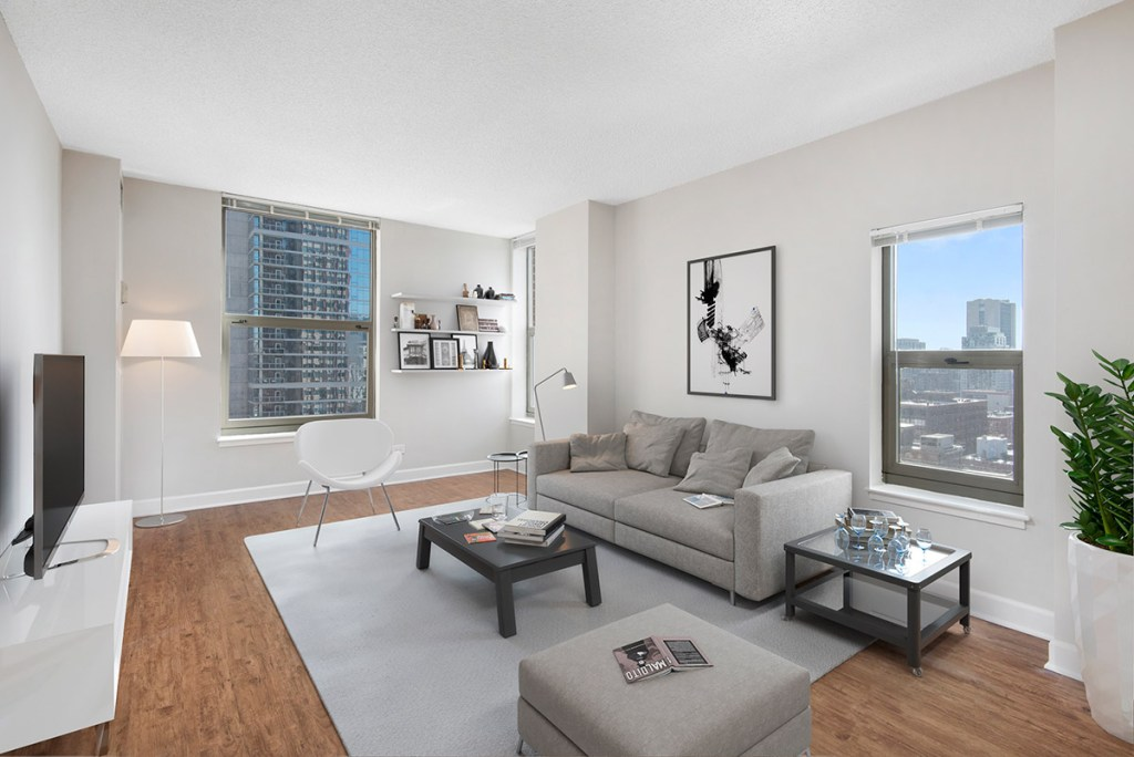100 W Chestnut Living Room with View Interior Chicago Apartments River North - 1