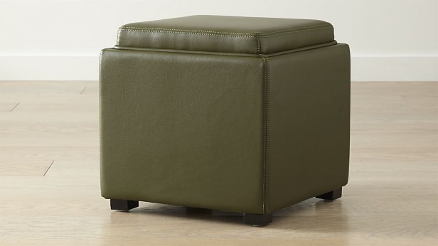 Chicago Apartments, Crate & Barrel, Leather Storage Ottoman