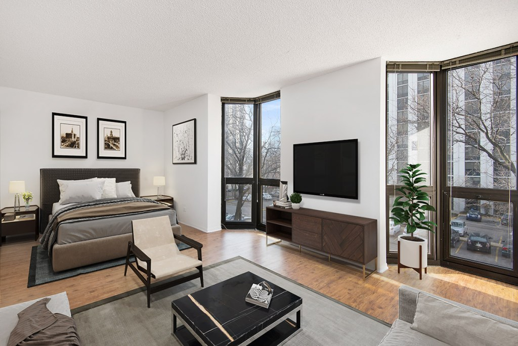 1000 N LaSalle Studio Bedroom Interior Chicago Apartments Gold Coast - 1