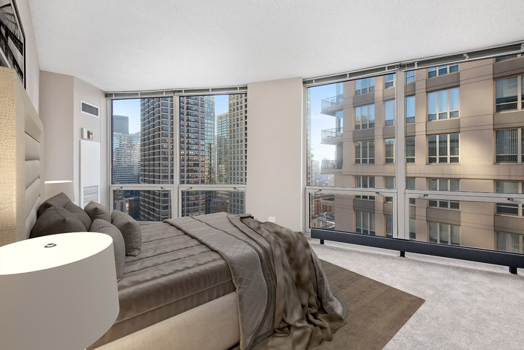750 N Rush Bedroom with View Interior Chicago Apartments River North - 2