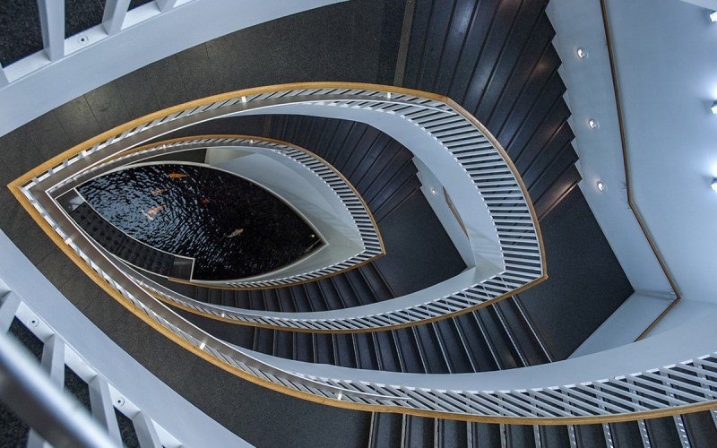 Chicago Apartments, River North, Museum of Contemporary Art, Fisheye Staircase