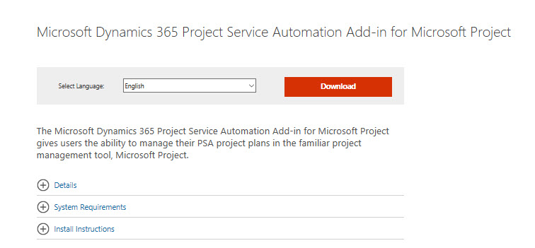 Add-In] Use MS Project to plan your Dynamics PSA project