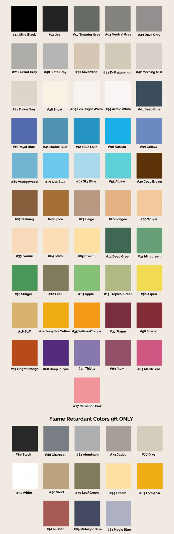 Seamless color chart