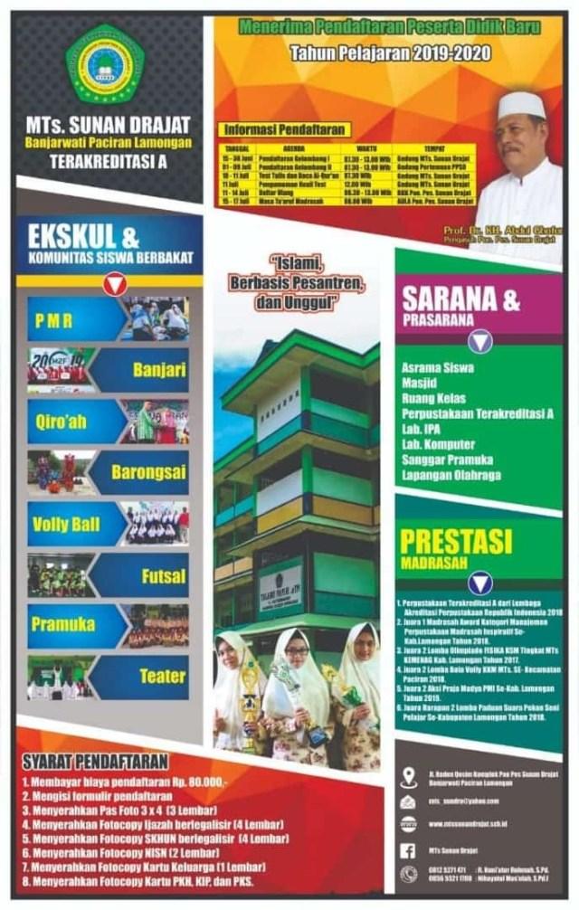 Brosur Pendaftaran MTs Sunan Drajat Tahun Pelajaran 2019/2020