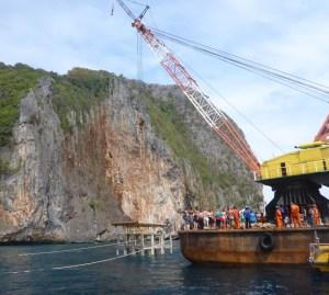 Todays work on the extension of the artificial reef #VikingCave #PhiPhiIsland