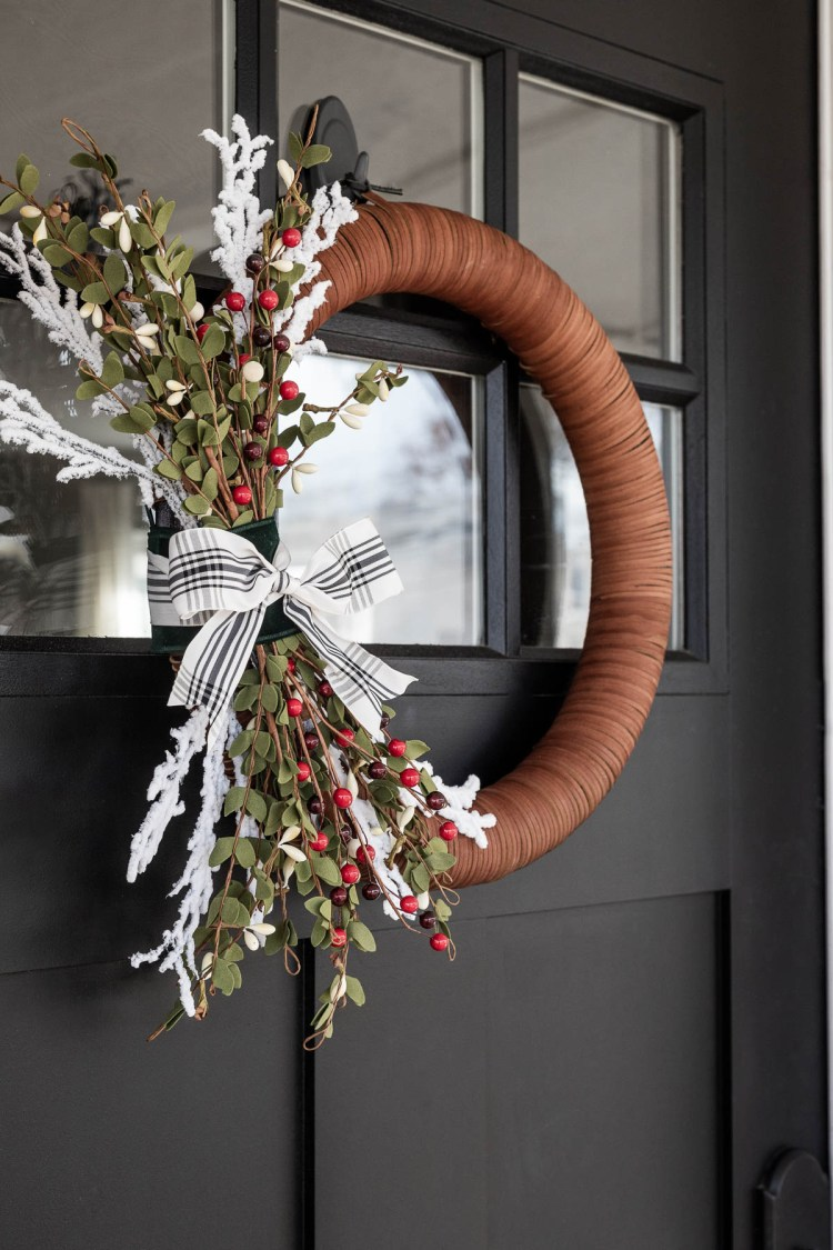 Minimalist Holiday Wreath DIY Project: Modern Asymmetrical Hoop Wreath With a Classic Plaid Bow and Winter Berries