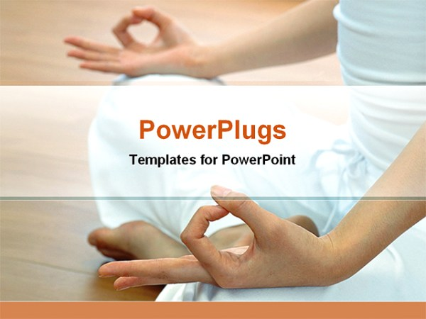 a woman in a yoga class PowerPoint Template Background of