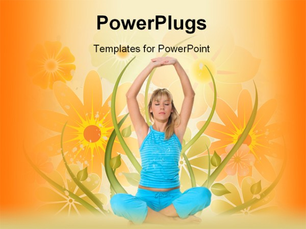 PowerPoint Template young blond girl in blue sportswear