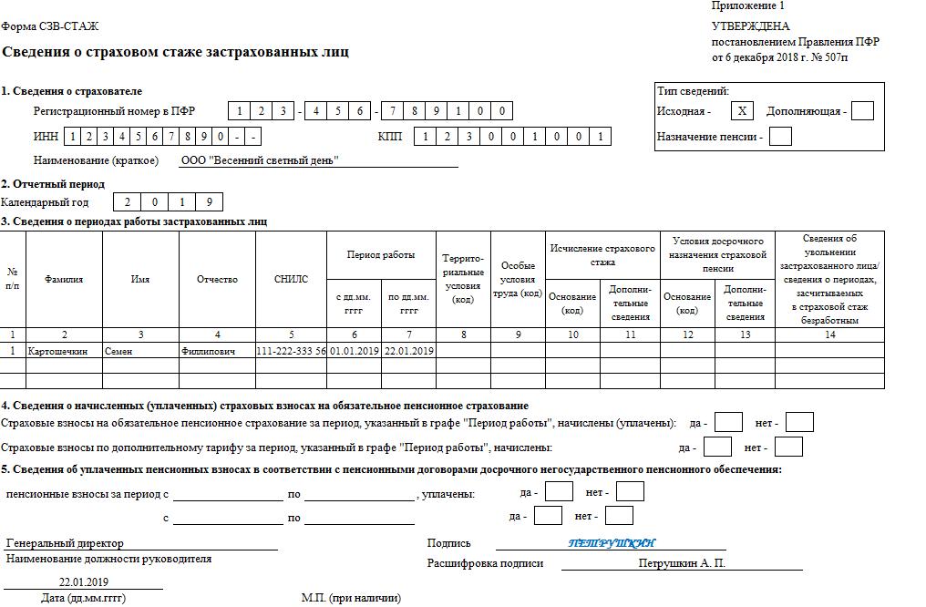Выписка по форме сзв м при увольнении образец бланка