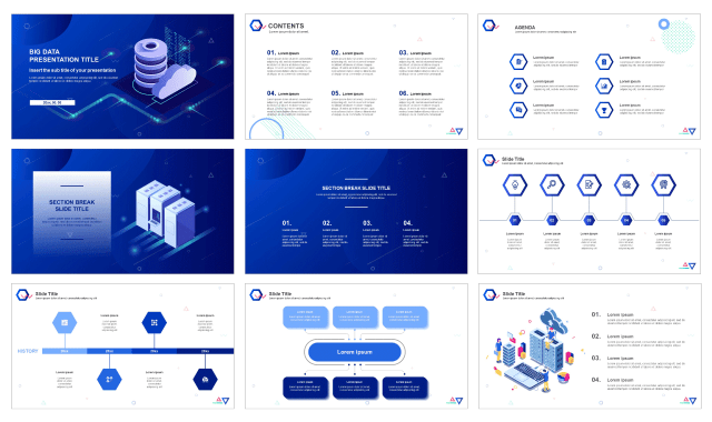 Blue Big Data Design Google Slides Theme And Free Powerpoint