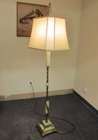 Art Deco Green Slag Glass & Brass Floor Lamp