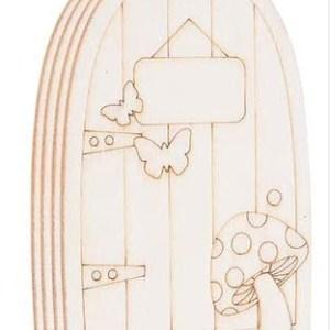 Puerta del ratoncito pérez o hada de los dientes con seta y dos mariposas para pintar manualidades