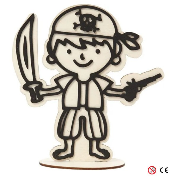 Pirata pañuelo de madera natural para pintar montada manualidades