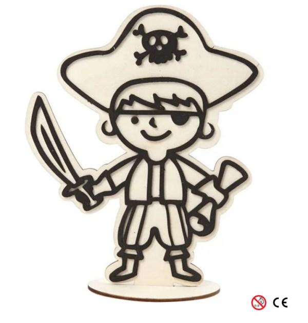 Pirata sombrero de madera natural para pintar montada manualidades