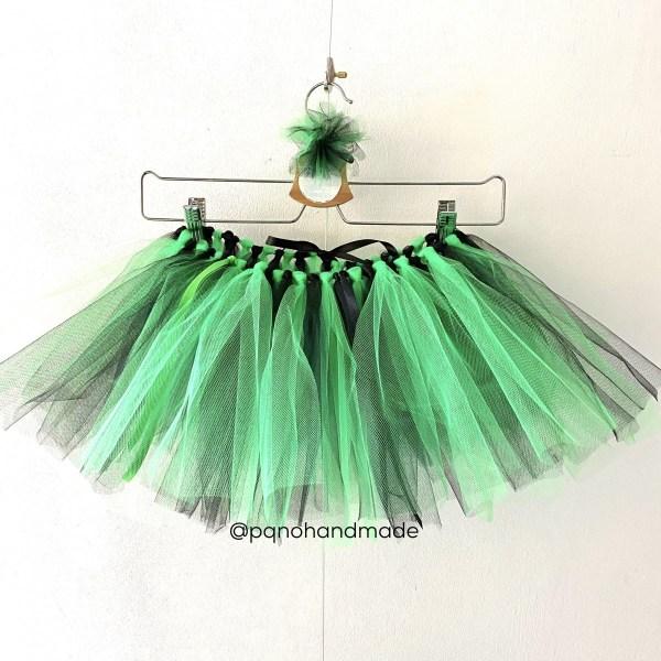 falda tul verde negro